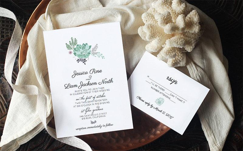 زفاف - Printable Succulent Wedding Invitation Template - SUCCULENT - INSTANT DOWNLOAD - Edit Yourself in Word