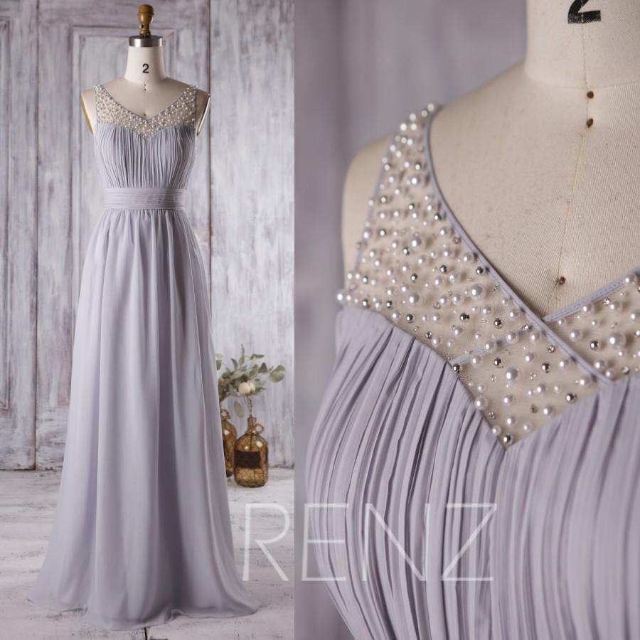 زفاف - 2016 Light Grey Bridesmaid Dress Long, Mesh Beading Wedding Dress, Sweetheart Prom Dress, Illusion Neck Formal Dress Floor Length (L125)