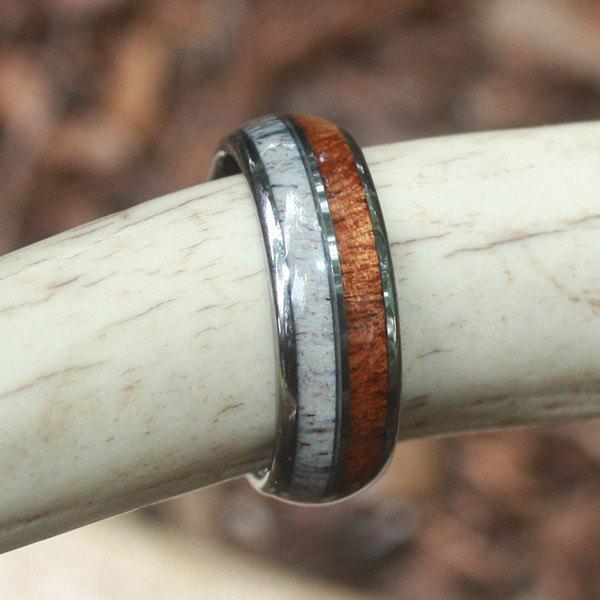 زفاف - Tungsten, Deer Antler & Koa Wood Ring - Our Most Detailed Design - Great Value - MADE FAST!
