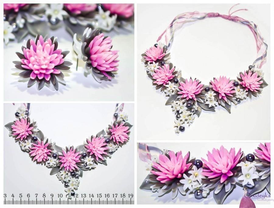 زفاف - Handmade necklace with light pink chrysanthemums, white, lilac and grey leaves, pink, grey, white, polymer clay, earrings, ring, pendant