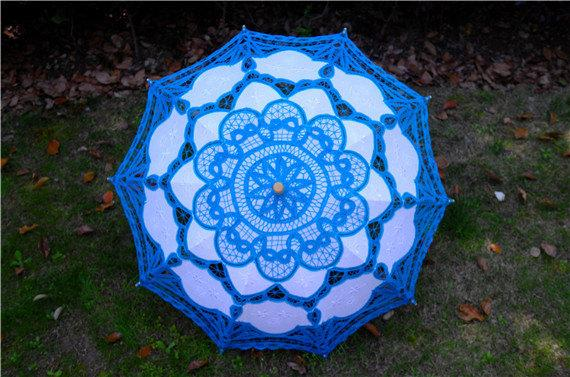 Mariage - Bule Old Fashion  Battenburg Lace Umbrella Wedding Bridal Parasol