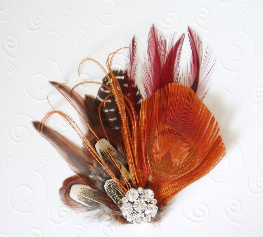 Fall Wedding Feather Fascinator Bridal Hair Clip Peacock 845ac52dd5b