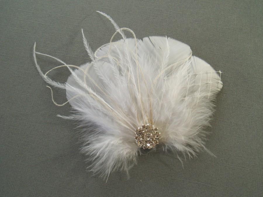 Mariage - WHITE Bridal Hair Clip Bridal Feather Fascinator, Feather Hair Piece, Wedding Hair Accessory hair clip