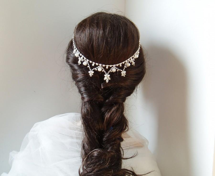 Hochzeit - Pearl Hair Jewelry Bohemian Headpiece Wedding Hair Chain Rhinestone