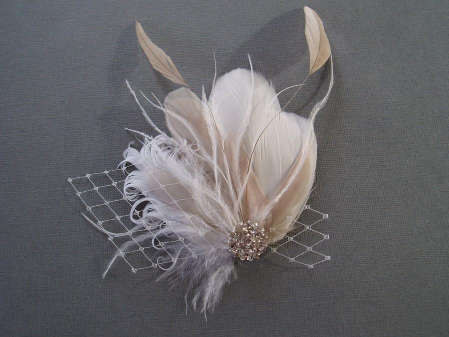 Hochzeit - Ivory Wedding Hair Clip Bridal Hair Piece Accessory Feather Fascinator Bridal Headpiece hair clip, Ivory champagne white READY TO SHIP
