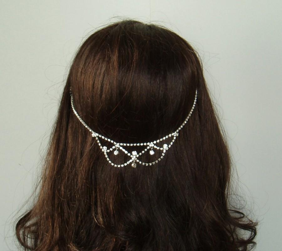 Hochzeit - Bohemian Headpiece Wedding Hair Chain Rhinestone Hair Jewelry