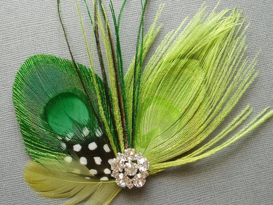 Lime Green Peacock Feather Hair Clip Bridal Fascinator wedding comb  hairpiece accessories - READY TO SHIP 4272f877970