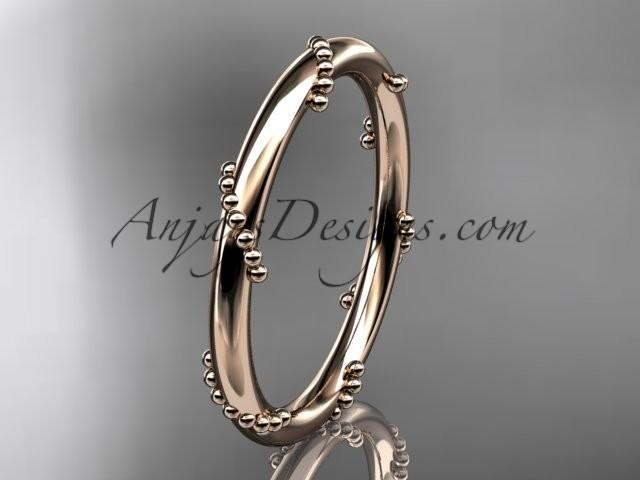 Свадьба - 14k rose gold engagement ring, wedding band ADLR502G
