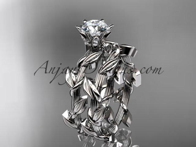 Wedding - Unique 14kt white gold diamond floral wedding ring, engagement set ADLR248S