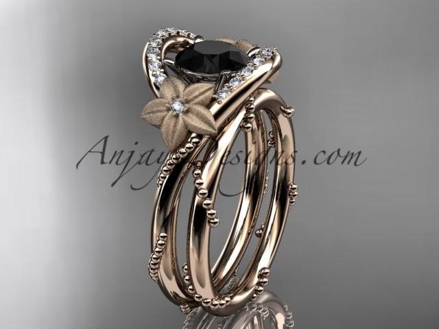 Wedding - 14kt rose gold diamond unique engagement set with a Black Diamond center stone ADLR166S