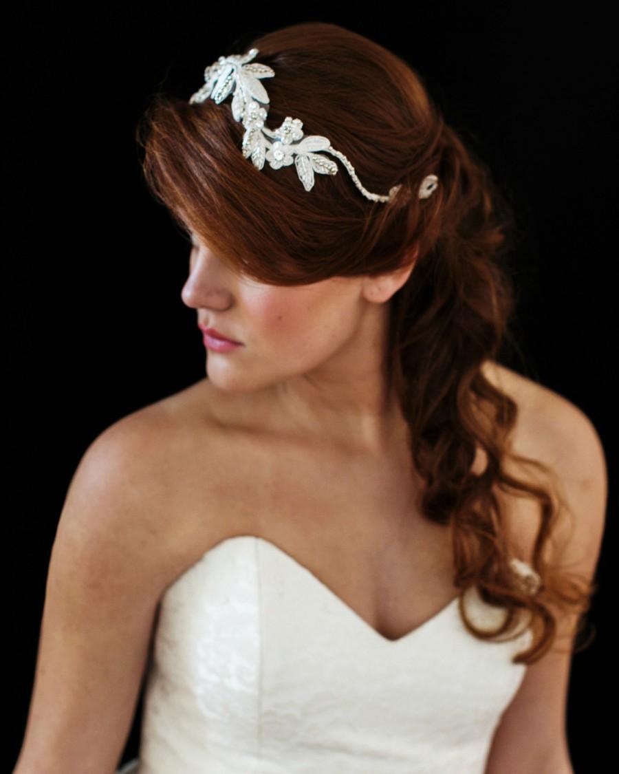 Hochzeit - Bridal Hair Piece. Bridal Beaded Floral Hair Vine. Bridal Crown Headpiece {Marina}