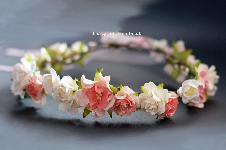 Hochzeit - Ivory and pink flower crown Bridal floral crown Flower Halo Boho crown Flower girls Floral crown Bridesmaid Woodland Rustic Hair wreath