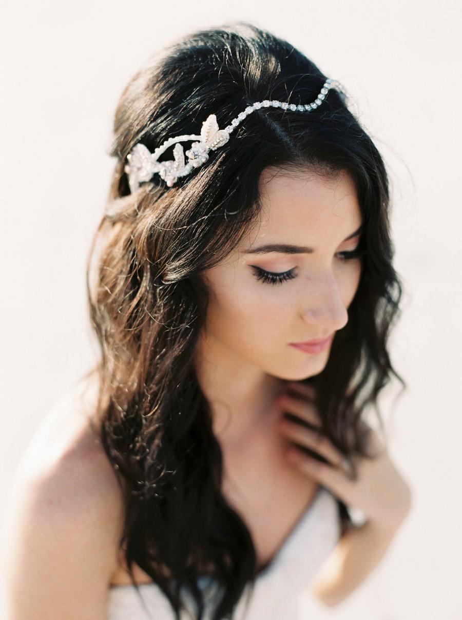 Wedding - Blush Bridal Headpiece. Blush & Silver Beaded Crystal Hair Vine. Wedding Headpiece {Elizaveta}