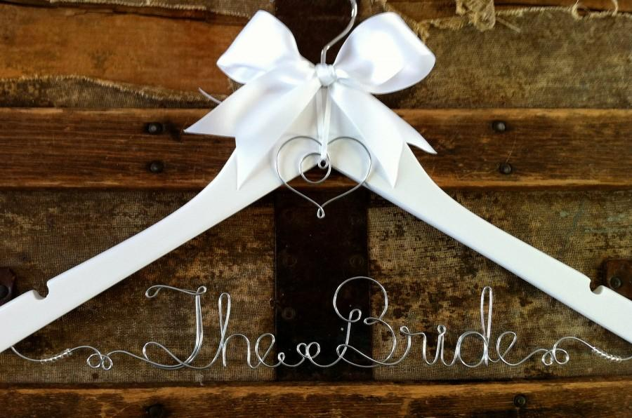 Mariage - Personalized Bridal Hanger, Custom Wedding Dress Hanger, for Bride, a lovely gift for Bridesmaid or Graduate