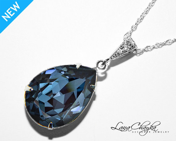 Свадьба - Denim Blue Crystal Necklace Swarovski Blue Rhinestone Sterling Silver CZ Necklace Denim Blue Rhinestone Teardrop Necklace Wedding Jewelry