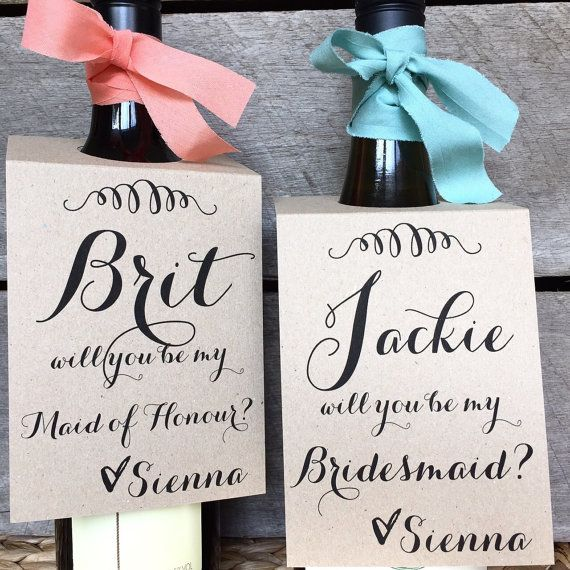Mariage - Will You Be My Bridesmaid, Will You Be My Bridesmaid Wine Tags, Will You Be My Maid Of Honour, Bridesmaid Wine Labels, Be My Bridesmaid