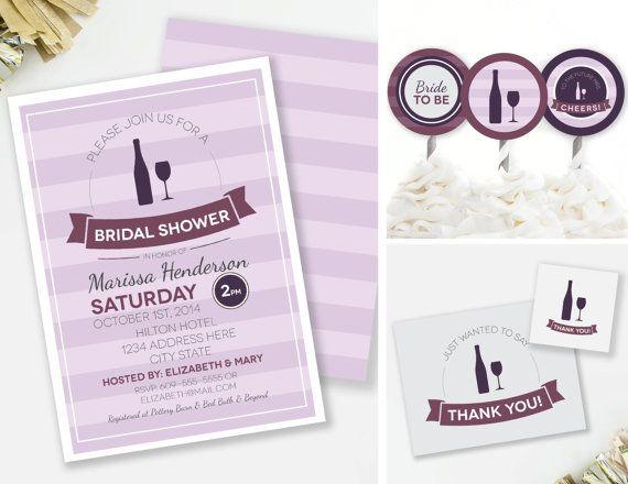زفاف - Wine Bridal Shower Invitation Set, Wine Tasting Shower, Purple Shower Decor, Printable Invite, Wine Party Decor, Bridal Thank You, #22
