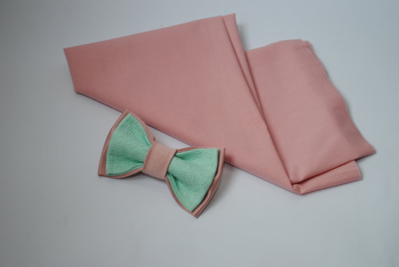 Boda - Minpi Wedding bow tie Men's bowtie Embroidered bowtie Mint pink pretied bow tie Blush ties Groomsmen neckties Gift for him Anniversary gift