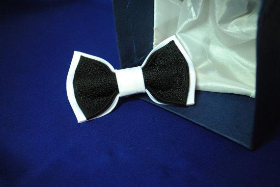 زفاف - Bow tie Wedding bow tie White black embroidered bowtie Classic necktie Formal ties Le nœud papillon blanc noir Satin Silk thread Groom's tie