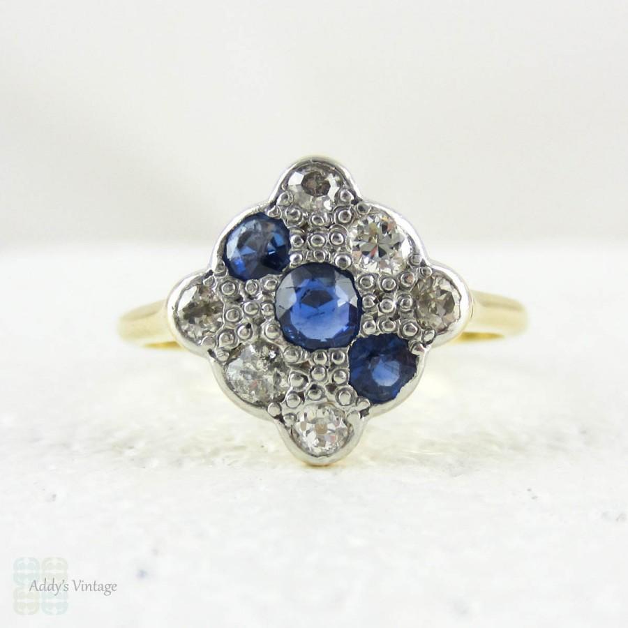زفاف - Art Deco Diamond & Sapphire Square Engagement Ring. Panel Triple Row Blue Sapphire and Old European Cut Diamond Ring, 18 Carat Platinum.