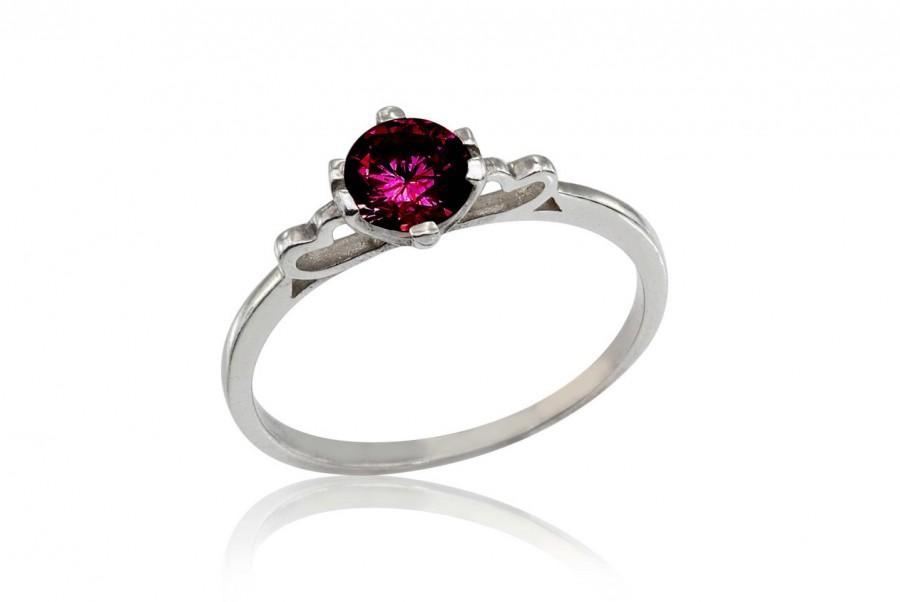 زفاف - Ruby Engagement Ring, 18K Ruby Ring, July Birthstone Ring, Ruby Bridal Ring, Dainty Engagement Ring, Delicate Ruby Ring, Free Shipping
