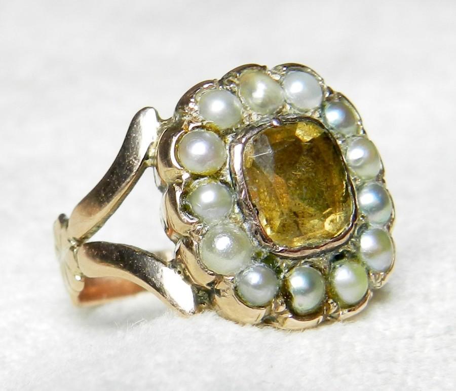 Mariage - Citrine Ring Georgian Era Ring 1800s Foil Backed Citrine 1 Ct Ring Citrine Engagement Ring 14K Ring Unique Engagement November Birthstone