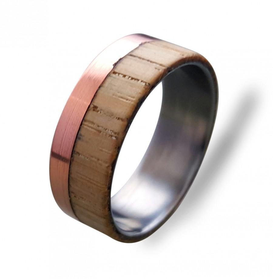 زفاف - Titanium ring with Copper and Beech wood, Mens Titanium Wedding band