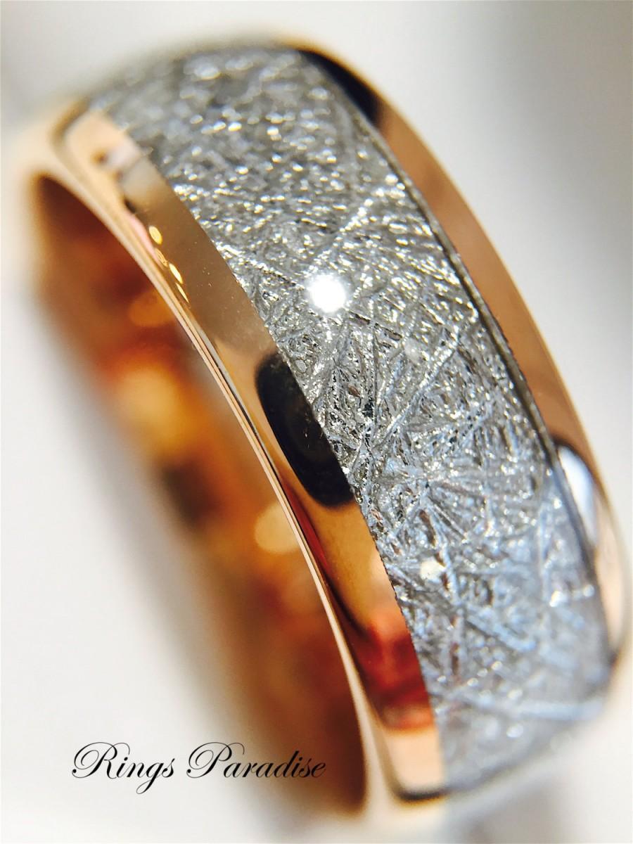 زفاف - Meteorite Inlay Ring, Rose Gold Wedding Band, Engagement Ring, His and Hers Engagement Ring, Tungsten Ring, Bands, Rings Paradise, Tungsten