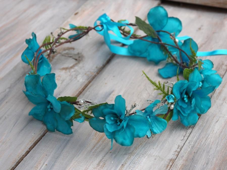 Wedding - Blue Bridal Crown, Flower Girl Halo, Blue Head Piece, Blue Floral Crown, Blue Flower Hair Piece, Blue Hair Crown, Blue Hair Halo