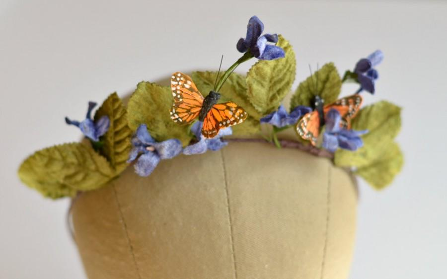 Wedding - Butterfly crown, leaf crown, whimsical headpiece, woodland headband, fairy crown, hair accessory - Titania