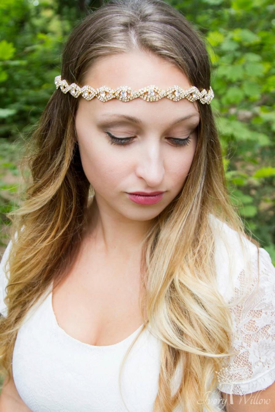Hochzeit - Gold Headpiece for Wedding - Bridal - Gold Headpiece - Crystal Rhinestone - Ribbon Tie back