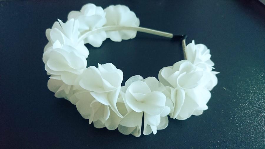 Свадьба - Ivory,  Flower Girl Headband, Flower Crown,  White, Wedding Hair Piece,  Bridal Halo,  Bridesmaid , Fascinator, Hair Flower, Hair Crown