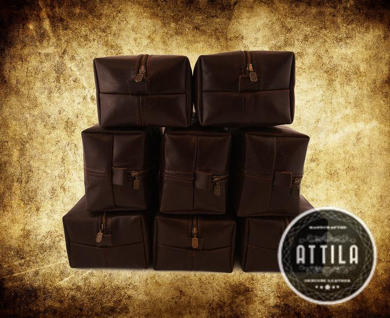 Set Of 8 Dopp Bags Groomsmen Gift Bag Darck Chocolate