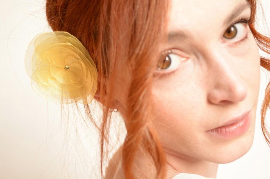 Hochzeit - Yellow organza flower barrette - peony