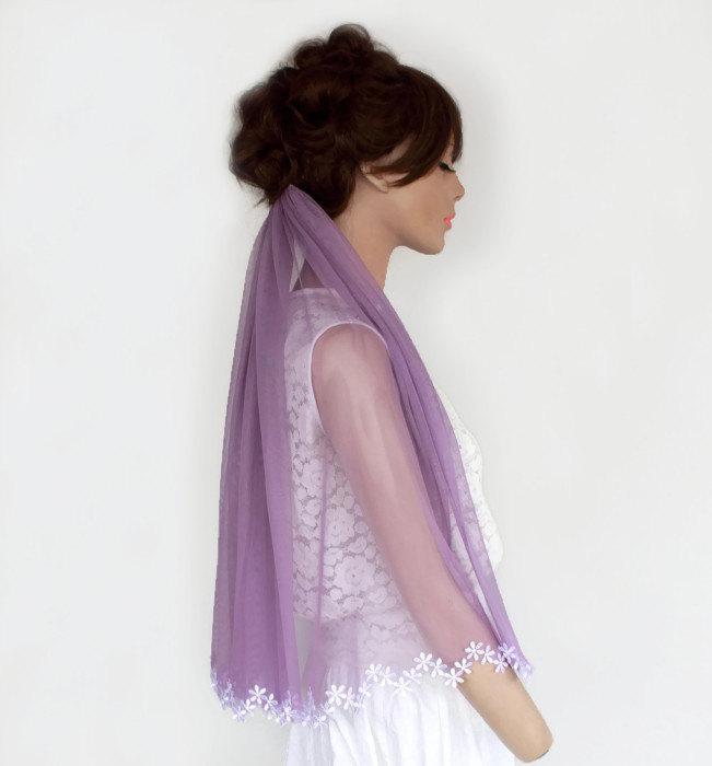 Свадьба - Unusual Bridal Veil, Pastel Lilac Tulle, Lace Flower Applique Trim, Unusual Veil, Spring Romantic Wedding Unique Design Alternative Wedding