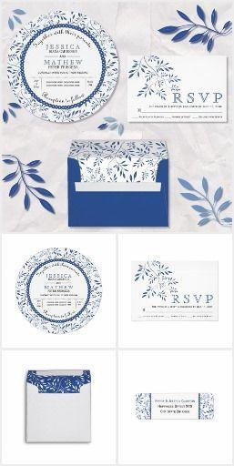 زفاف - Indigo Blue Leaves Pattern Wedding Invitations