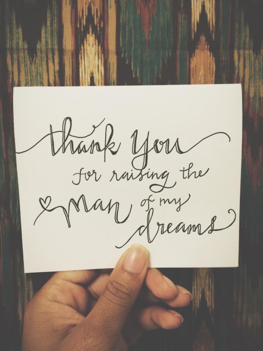 زفاف - Thank You for raising the man of my dreams - Parents Card