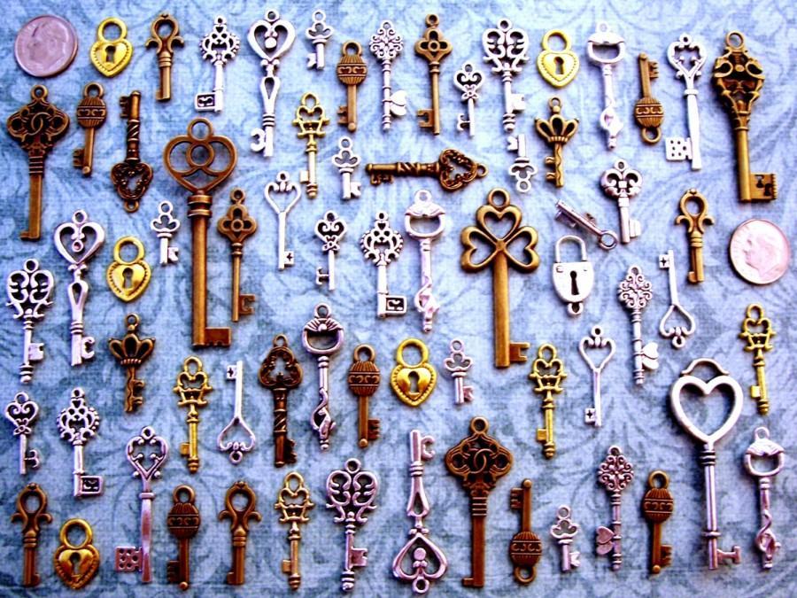 زفاف - 124 Skeleton Keys New Vintage Antique Look Replica Charms Jewelry Steampunk Wedding Beads Supplies Pendant Set Collection Reproduction Craft