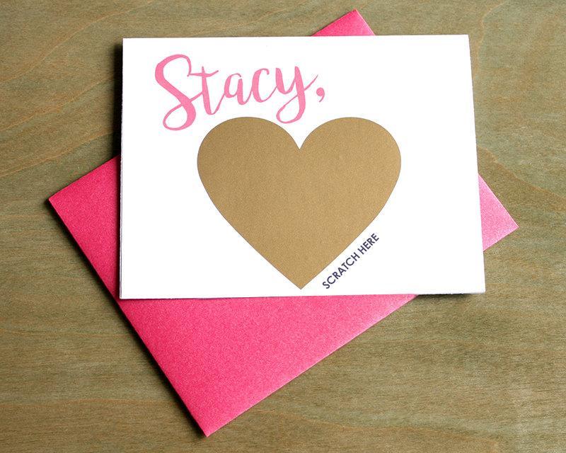 زفاف - Scratch Off Will you be my Bridesmaid? Card - Maid of Honor, Matron of Honor, Bridesmaid Ask Card Personalized with Metallic Envelope
