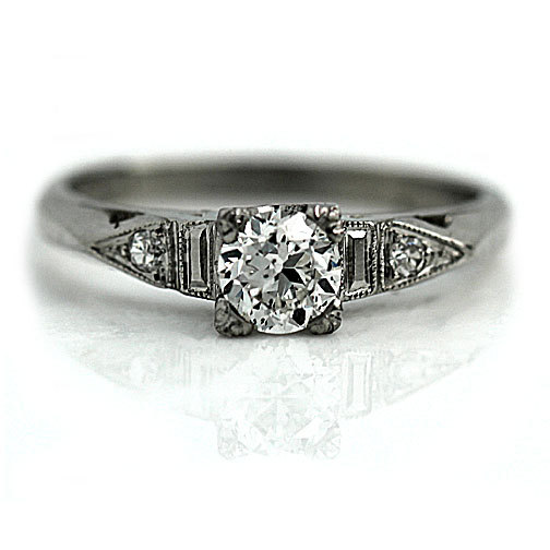 زفاف - Vintage Engagement Ring 0.50ct Old European Cut Diamond Engagement Ring Platinum Diamond Wedding Ring Bridal Art Deco Size 5.75!