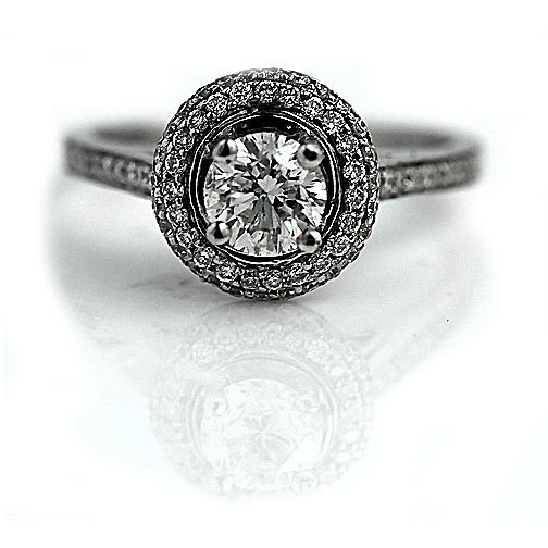 زفاف - Halo Diamond Engagement Ring  Vintage Halo Ring GIA 1.34ctw 14K White Gold Vintage Wedding Ring Size 4.25!