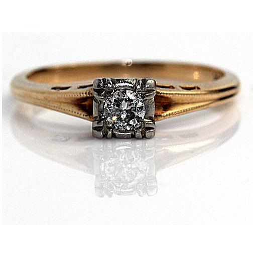 زفاف - 1940's Engagement Ring Mid-Century .20ct Old European  Cut Diamond Engagement Ring in 14k Two Tone Gold