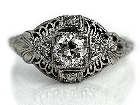 زفاف - Antique Engagement Ring Old European Cut Diamond Platinum Filigree Art Deco Engagement Ring Antique Diamond Wedding Ring Art Deco Ring