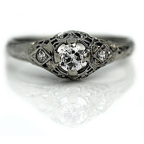 Hochzeit - Antique engagement ring one central diamond white gold Art Deco engagement ring circa 1920 for sale