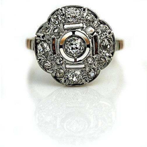 Wedding - Victorian Engagement Ring Edwardian .90ctw Old Mine Cut Diamond Ring Two Tone Platinum Rose Gold Wedding Ring Vintage Diamond Ring Size 5.5!
