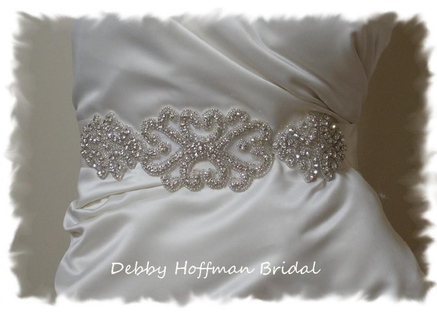 Mariage - Rhinestone Crystal Bridal Belt, Wide Jeweled Wedding Dress Belt, Silver Beaded Wedding Sash, Vintage Style Bridal Sash, No. 2015S1171-2