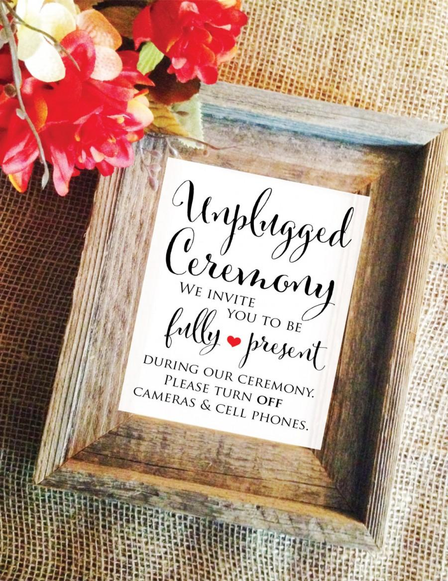 Hochzeit - Unplugged Ceremony Sign Wedding Ceremony Sign Wedding Ceremony Decor please turn off cellphones and camera (Lovely) (Frame NOT included)