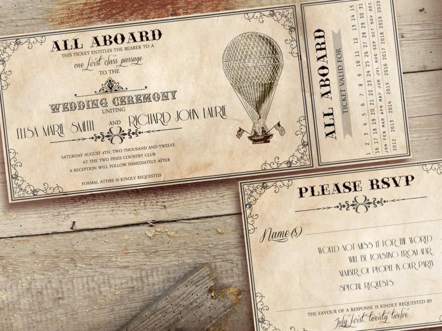 Printable Vintage Wedding Invitations Ticket Wedding Invitation