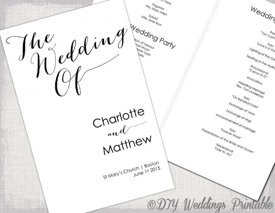 Wedding Program Template Calligraphy Black & White Printable Wedding ...