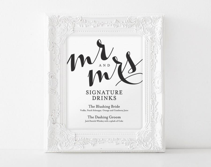Signature drink sign signature drinks printable wedding for Wedding drink menu template free